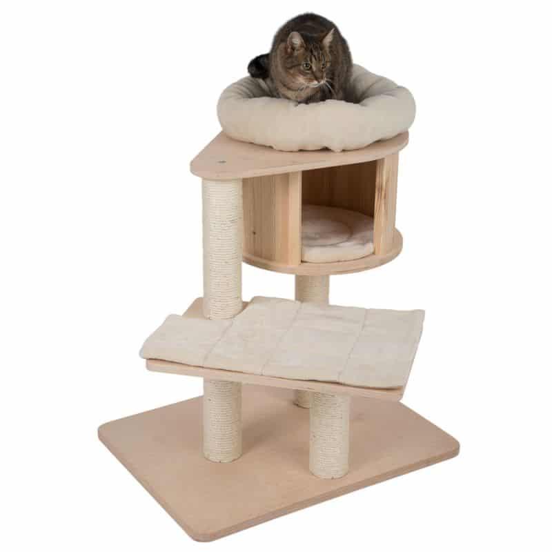 petit arbre a chat bois niche rond