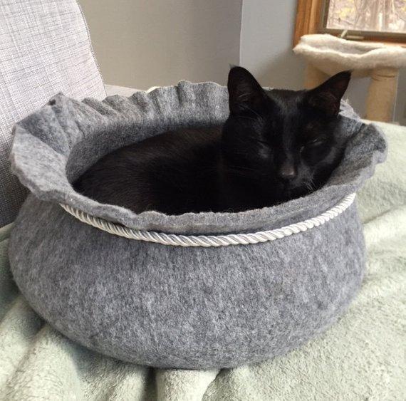 coussin chat feutre marmite