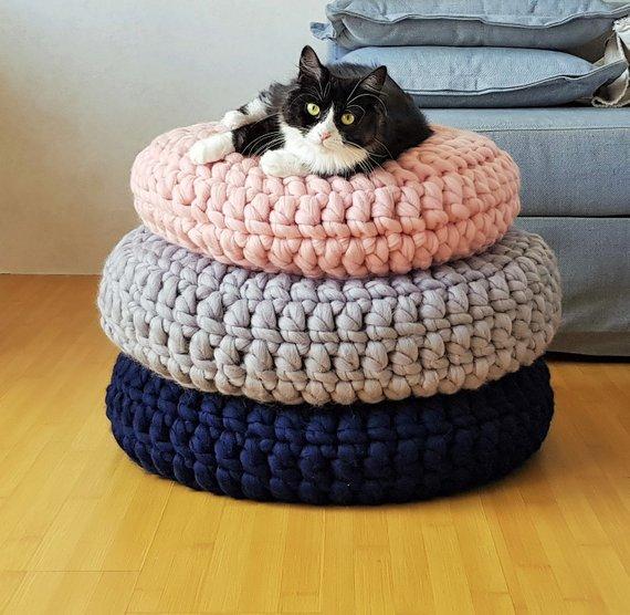 coussin chat rond épais laine