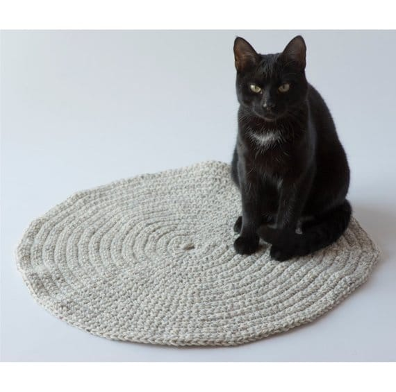 coussin tapis rond chat