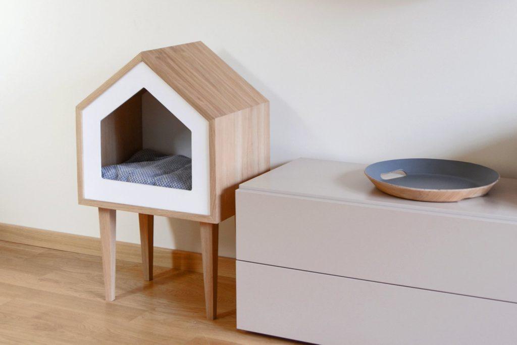 maison niche chat bois toit