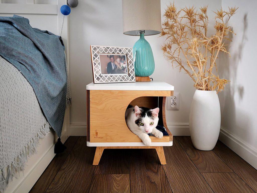 niche chat bois avec pied