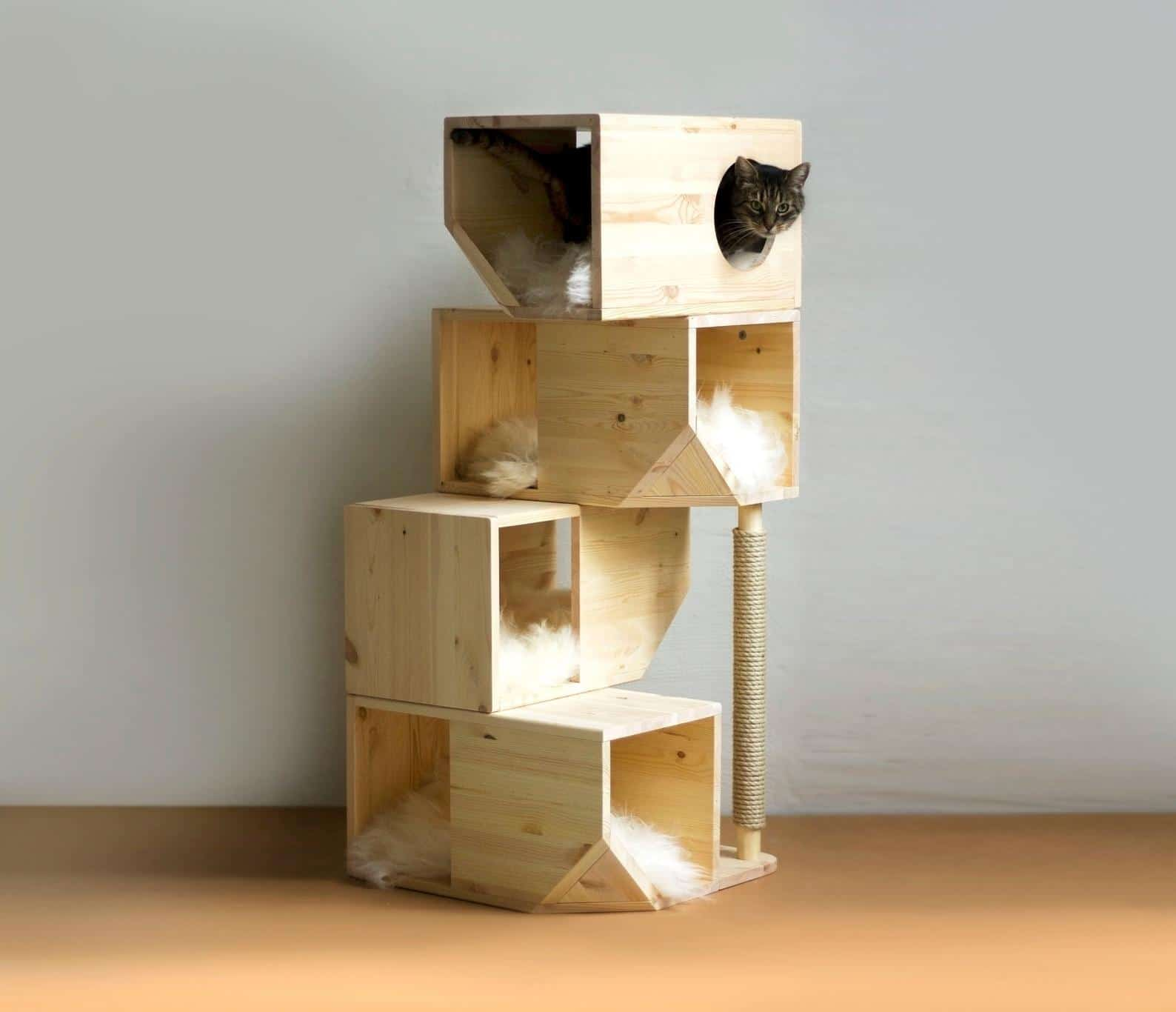 arbre a chat cube bois artisanal