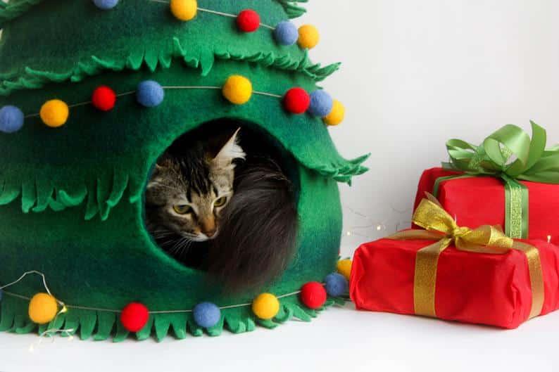 chat sapin cadeau