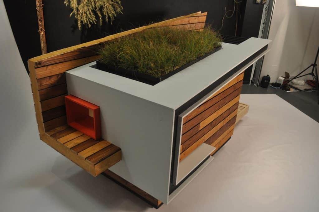 niche intégrale luxe bois design plante