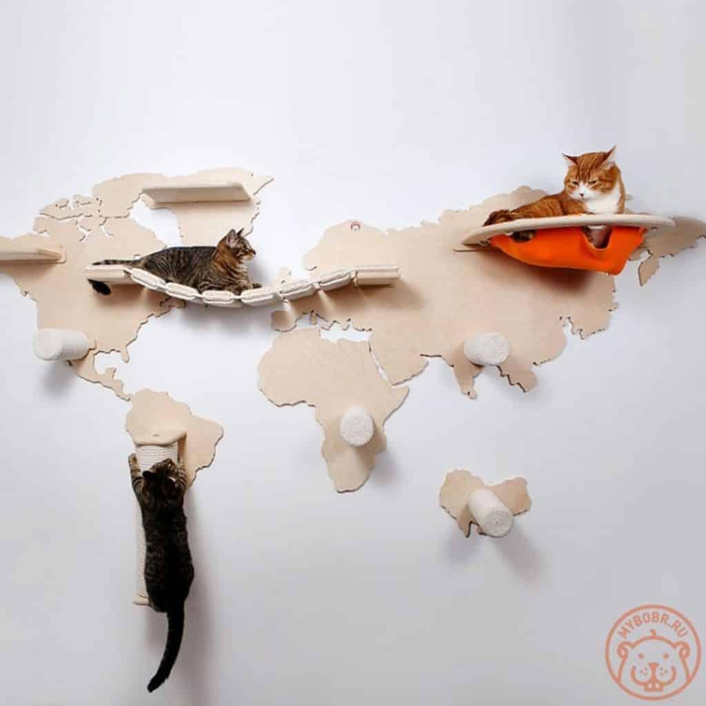 arbre a chat mural design carte du monde
