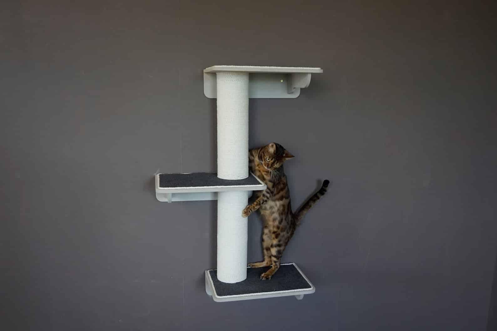 arbre a chat mural design droit 3 niveaux