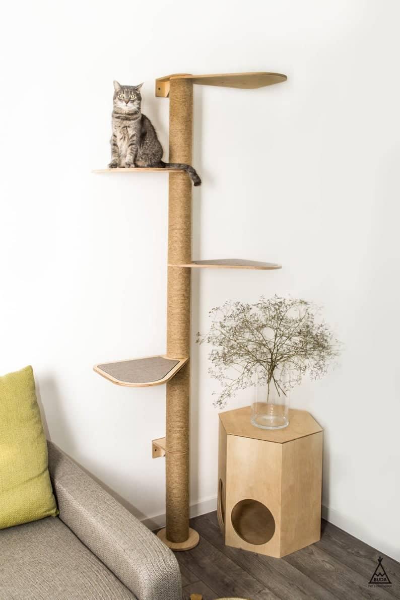 arbre a chat mural design droit marron