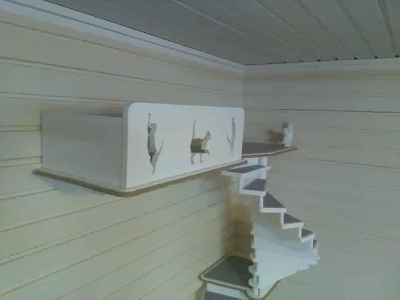 arbre a chat mural design escalier graphique
