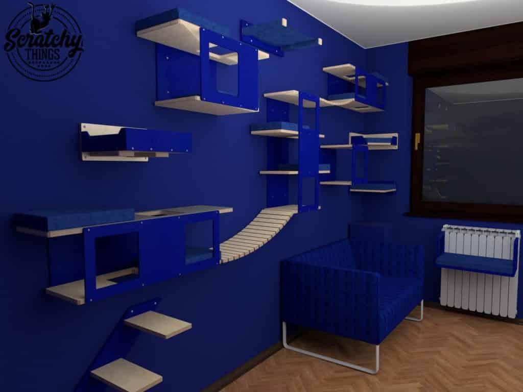 arbre a chat mural design parcours aventure bleu