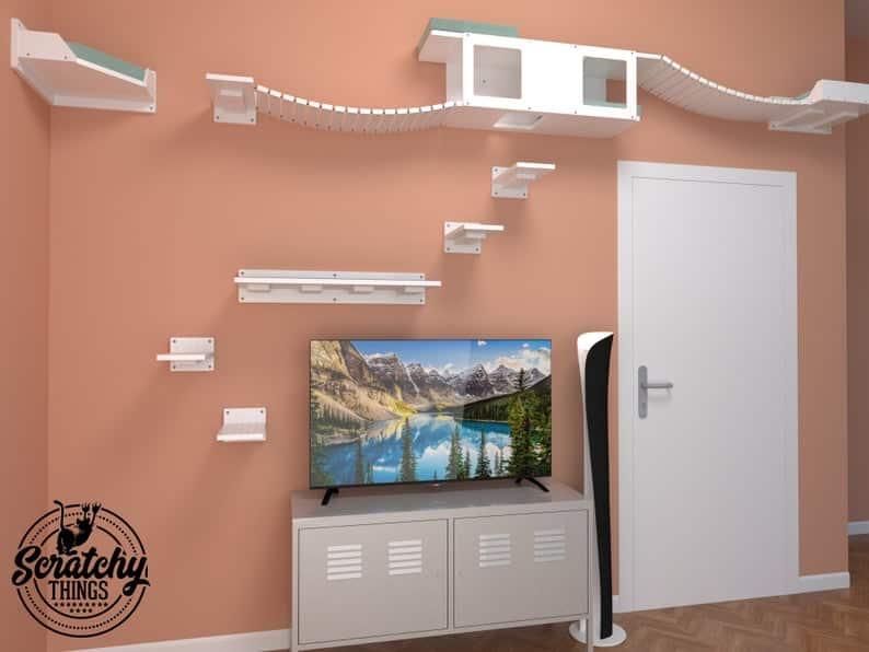 arbre a chat mural design parcours aventure horizontal