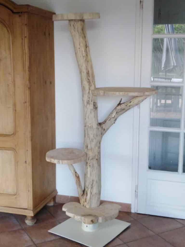 arbre a chat bois flotte et blanchi