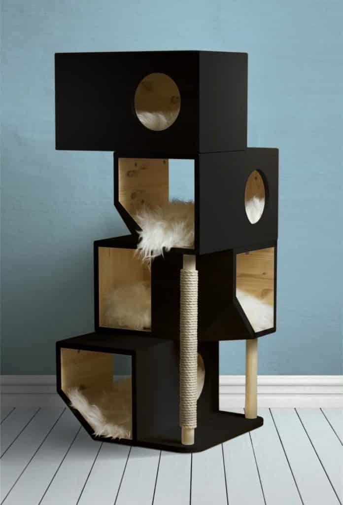 arbre a chat cubes rectangulaires noirs